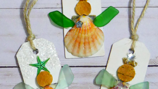 Sea Glass & Seashell Angel Ornament