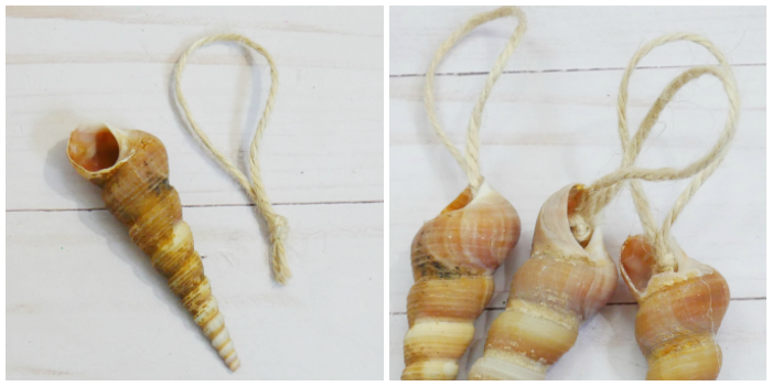 Simple glitter seashell ornament loops