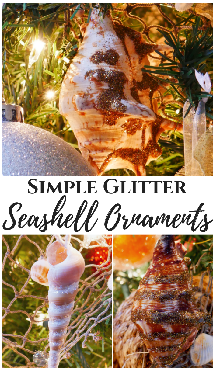 simple glitter seashell ornaments