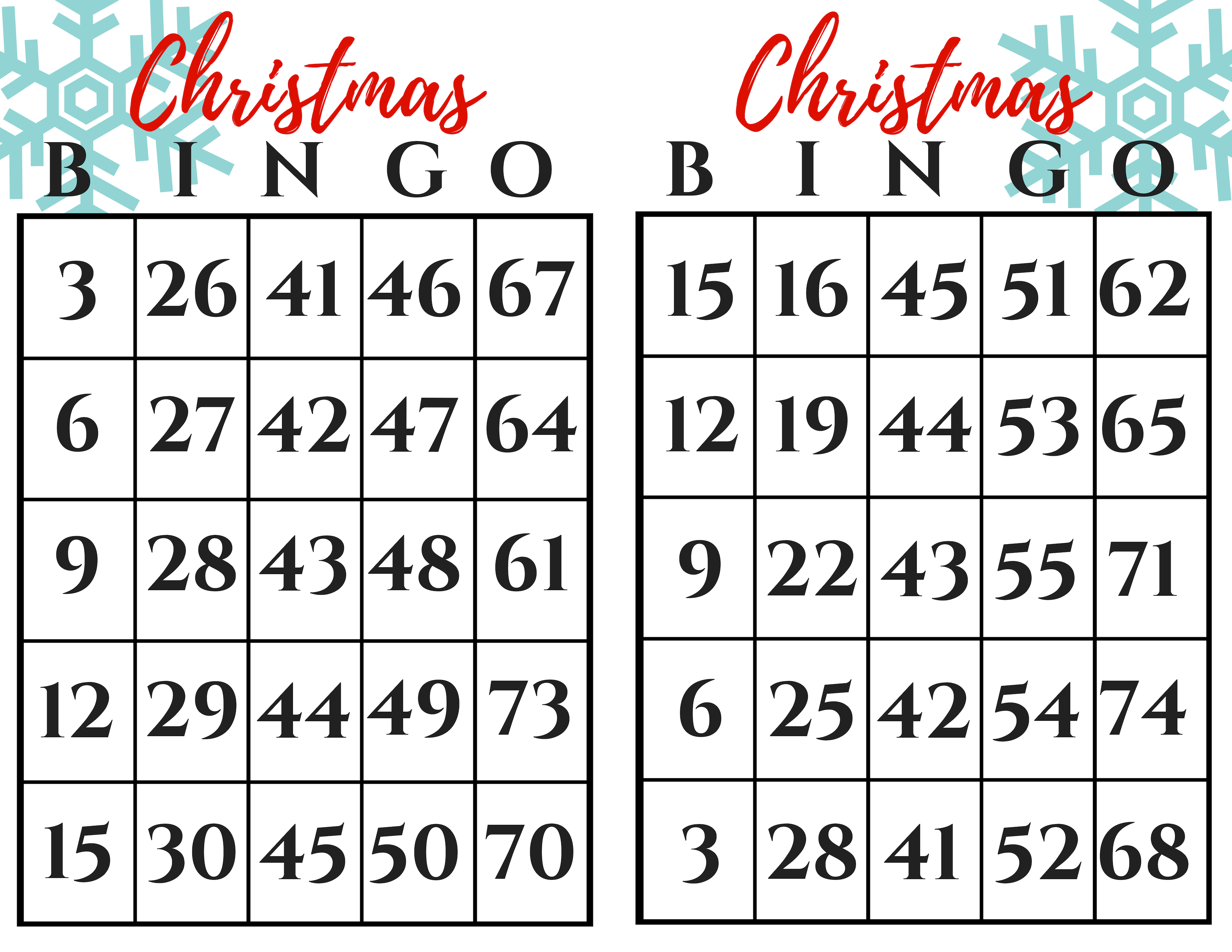 First two cards of the Christmas BINGO Gift Exchange Printable