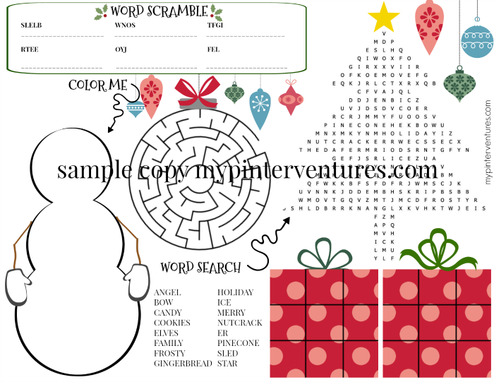 Snowman Christmas Activity Mat - elementary
