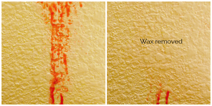 How to remove wax from walls -before/after