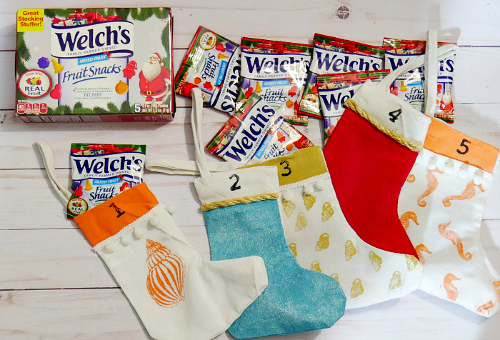 Welch's Fruit Snacks pouches in stockings