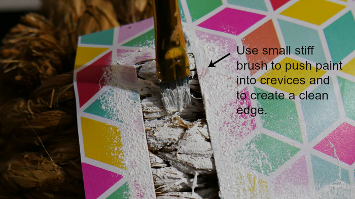 Painting stencils with a small brush