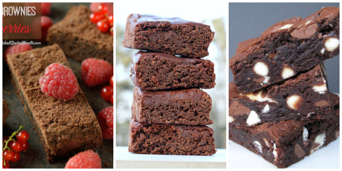 Brownie recipes - raspberry brownies, red wine brownies, and hug kisses brownies