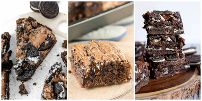 Brownie recipes- fudge Oreo brownies, caramel brownies, and stuffed Oreo brownies