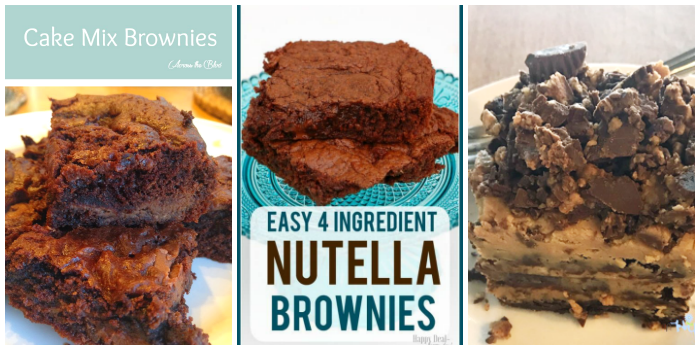 Brownie recipes- cake mix brownies, 4-ingredient Nutella brownies, and Reese's brownie lasagna