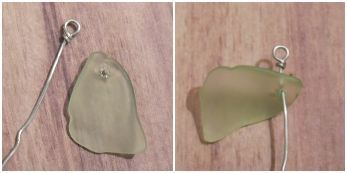 Start of the DIY wire wrapped tumbled glass pendant