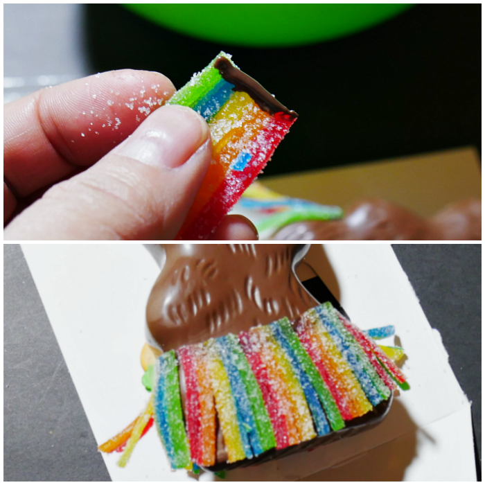 Applying the chocolate hula bunny skirt