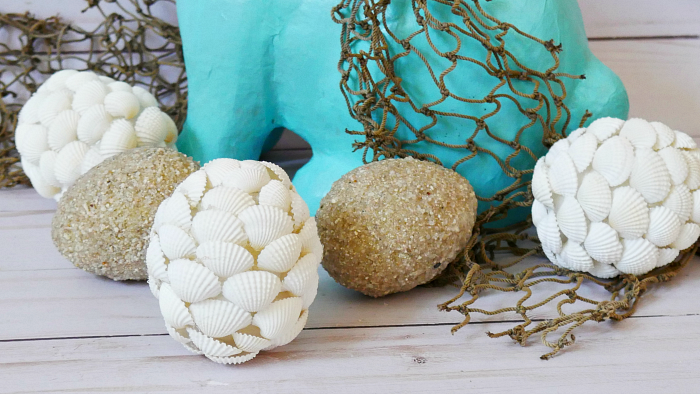 seashell eggs with sand eggs
