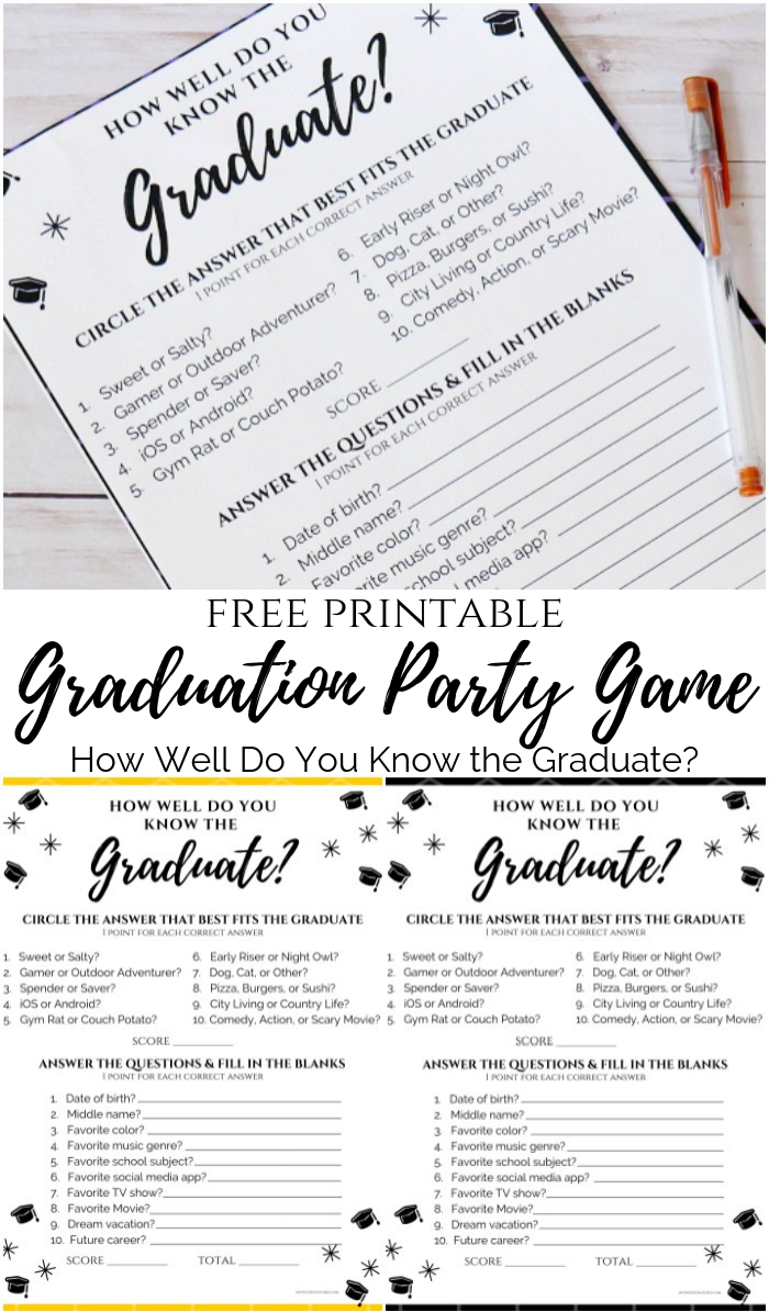 Free Printable Graduation Game