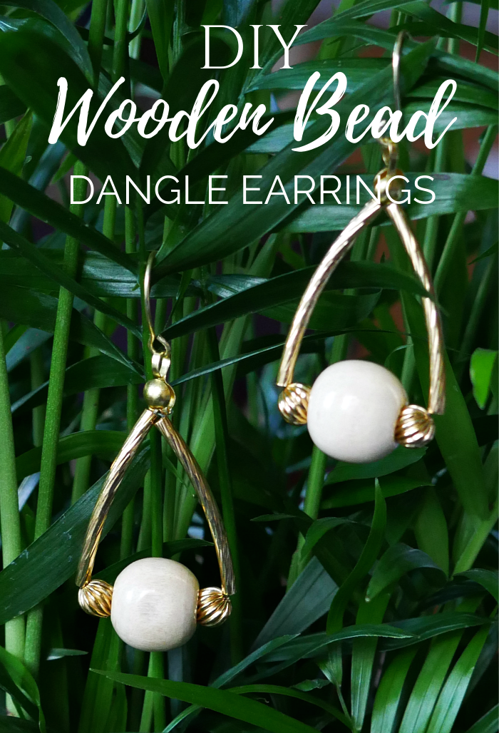 DIY Wooden Bead Dangle Earrings