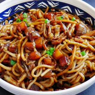 Bacon Jajangmyeon - Black Bean Noodles