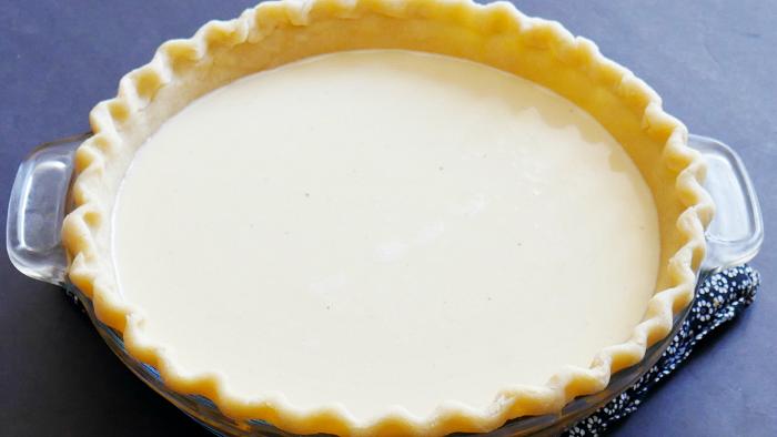 Partially filled custard pie