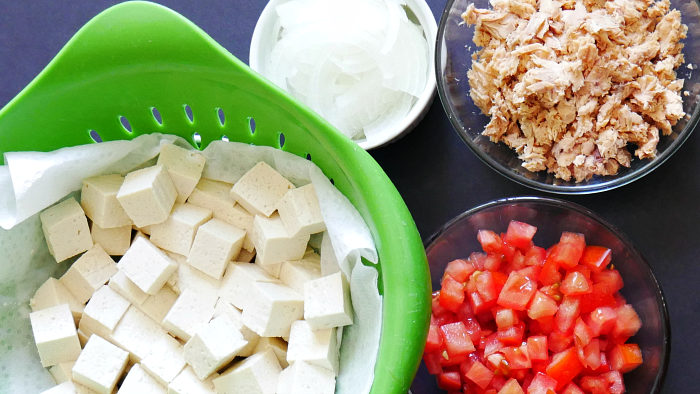 Prepared salmon and tofu ingredients