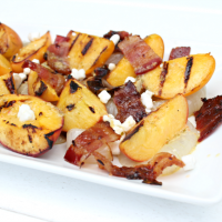 Sweet & Salty Grilled Peach Salad with Bacon
