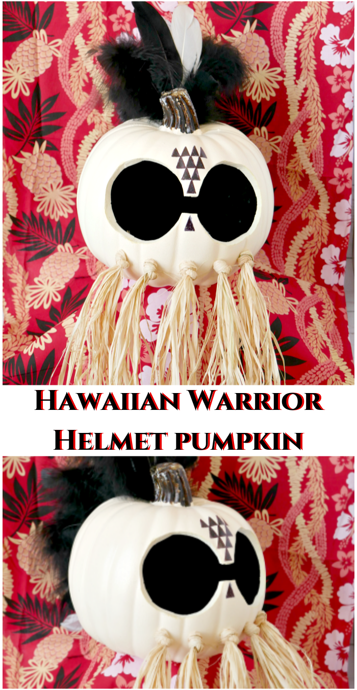 DIY Halloween Pumpkin Hawaiian Warrior Helmet