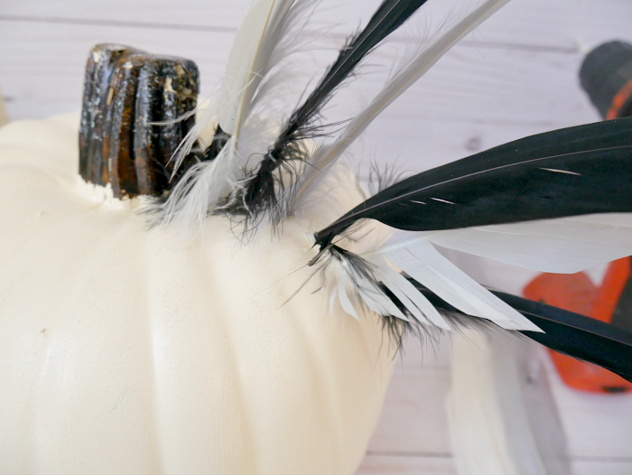 DIY Halloween Pumpkin Hawaiian Warrior Helmet goose feathers