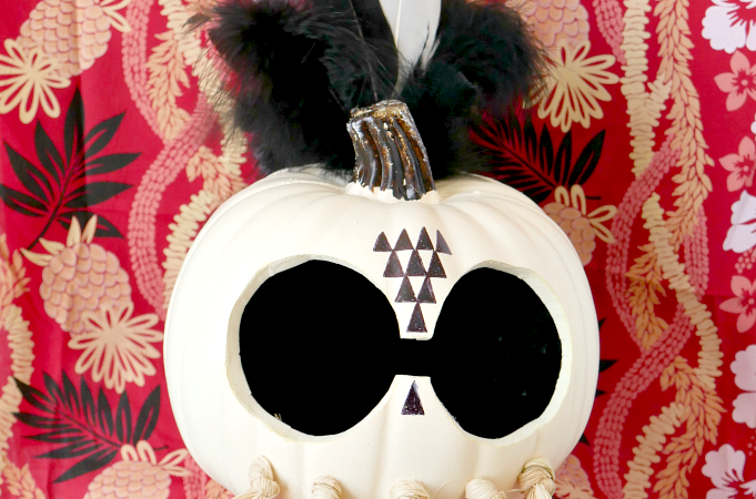 DIY Halloween Pumpkin Hawaiian Warrior Helmet slider