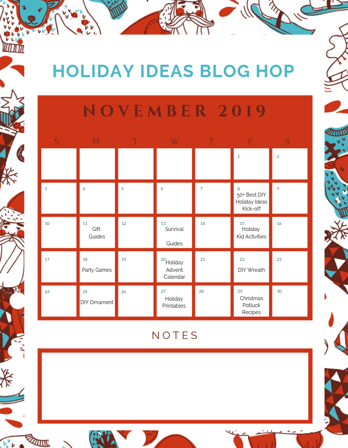 November Holiday Ideas Blog Hop Calendar