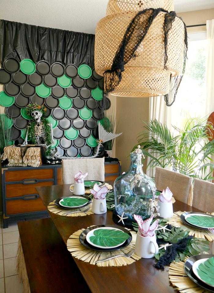 Tropical Halloween Mermaid table setting
