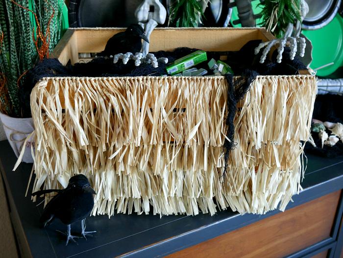 tropical Halloween mermaid raffia chest