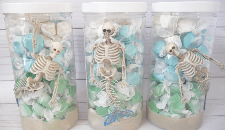 DIY Mermaid Skeleton Containers and Easy Halloween Decor Update
