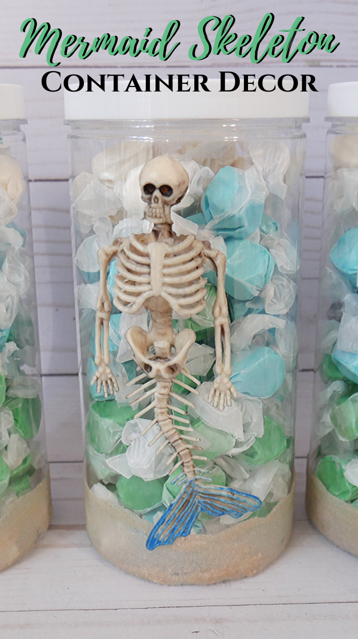 DIY Mermaid Skeleton Containers using Oriental Trading plastic containers and mini mermaids #sponsored #halloween #halloweenideas #mermaid #mermaidskeleton #skeleton #OTCHalloween #orientaltrading