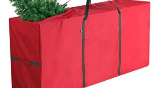 "Coogam Christmas Tree Storage Bag Fits up to 7.5 ft Artificial Tree - Super Durable Oxford Canvas Xmas Decorations Container Duffel Sack in Large Size 53"" x 13"" x 27"" (Red)"