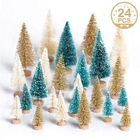 OurWarm 24Pcs Artificial Frosted Sisal Christmas Tree, Bottle Brush Trees with Wood Base DIY Crafts Mini Pine Tree