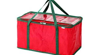 Juvale Christmas Lights Storage Crate/Organizer Bag, Red, 24L x 12W x 12H inches