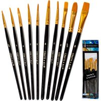 Crafts 4 ALL Paint Brushes Set 10 Pieces Professional Fine Tip Paint Brush Set