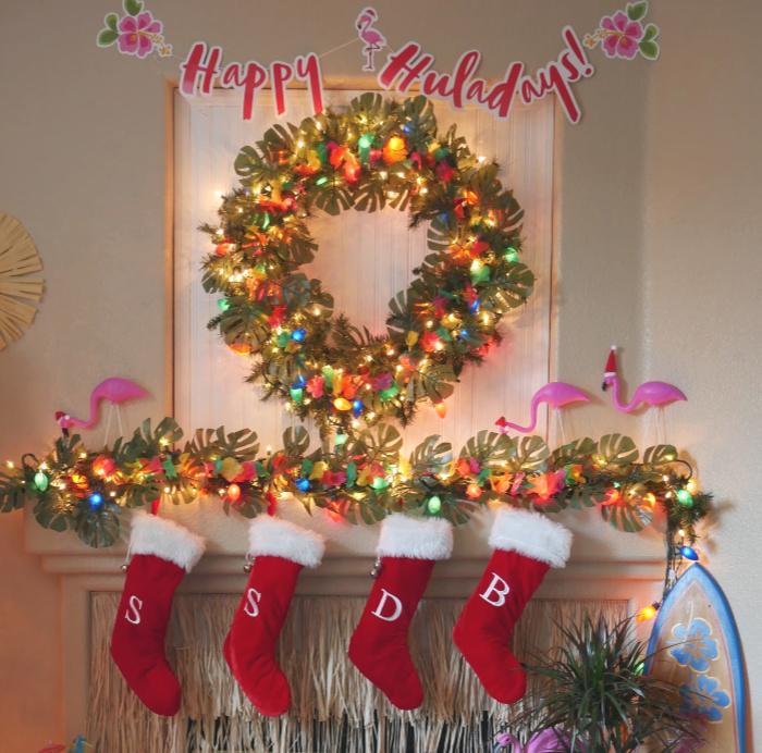 Bright tropical Christmas wreath