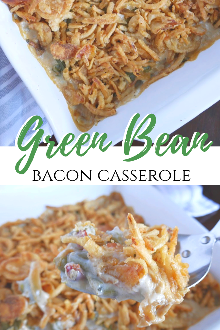 Green bean bacon casserole. Green bean casserole with bacon and caramelized onions. #greenbean #greenbeancasserole #sidedish #thanksgiving