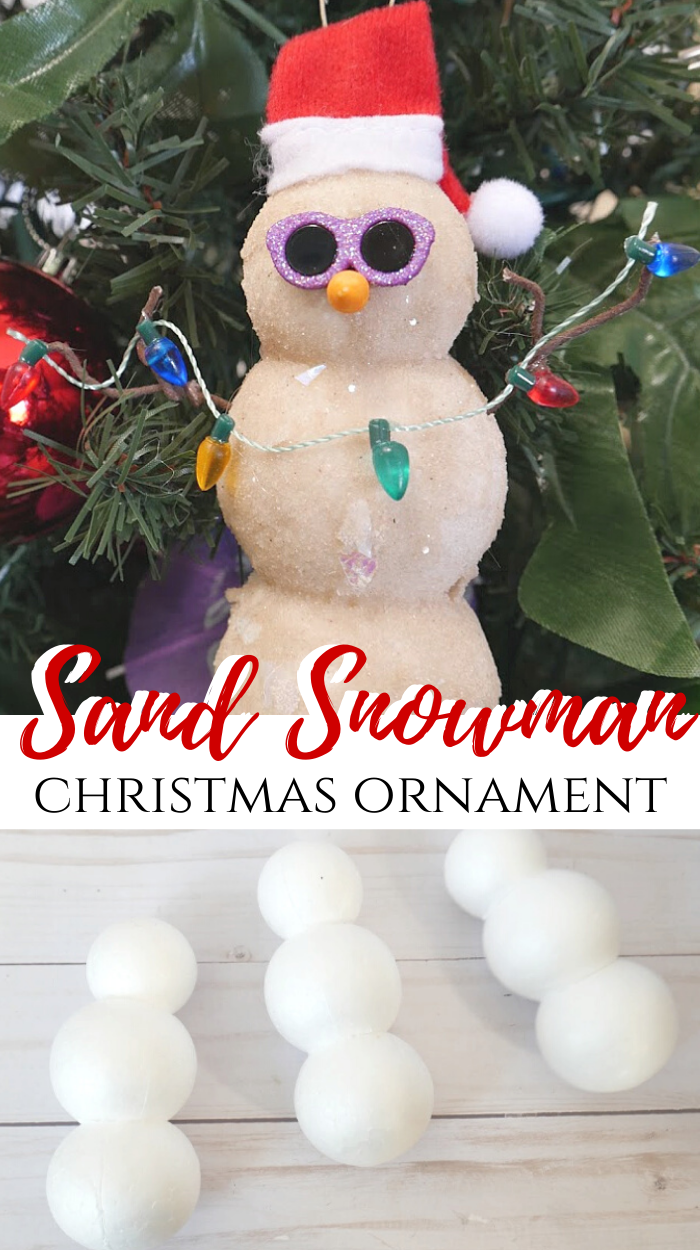 DIY Sand Snowman Ornament tutorial. Styrofoam balls, sand, and Mod Podge is used to create a fun beach themed Christmas ornament. #christmas #christmasideas #christmasornament #beach #coastal #snowman #sand #ornament