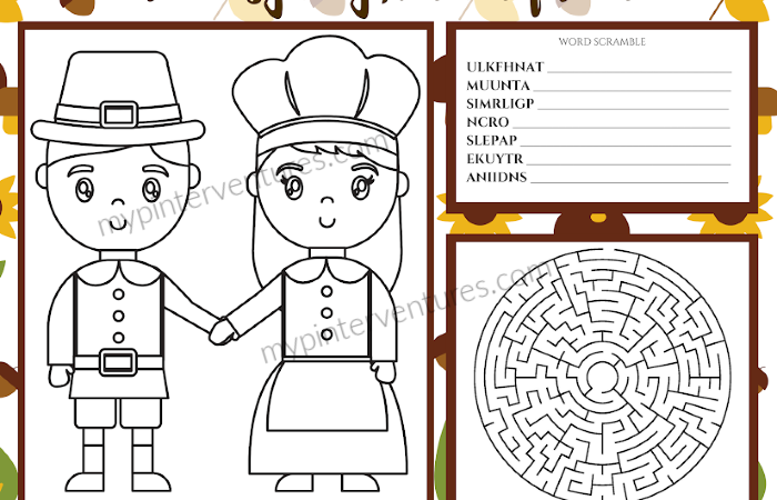 2019 Printable Thanksgiving Activity Mats & Word Search