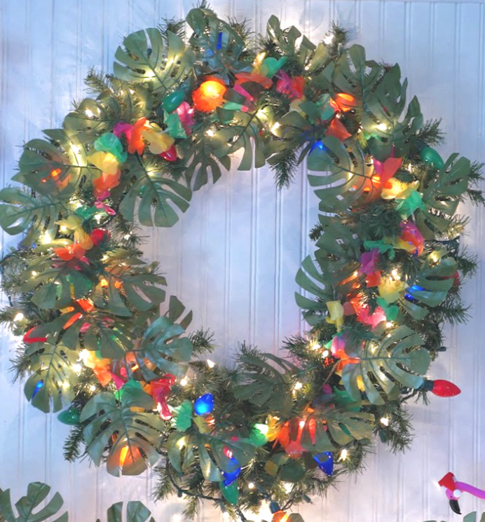 Bright Tropical Christmas Wreath in daylight
