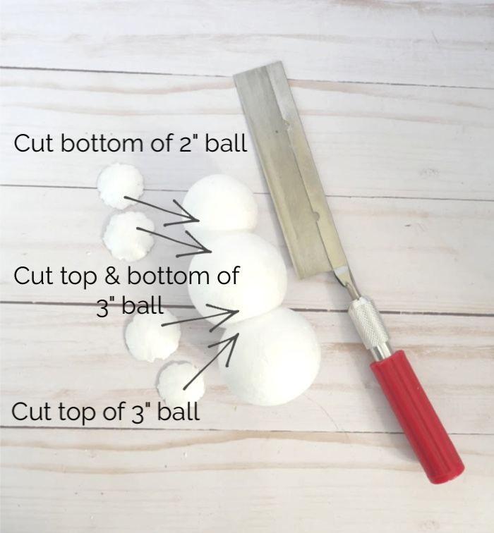 Cutting foam balls for sand snowman ornament