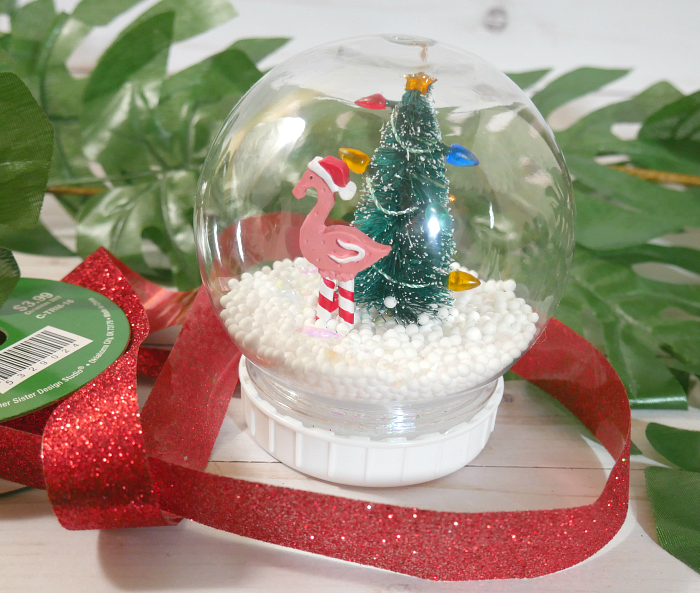 dollar store waterless snow globe put together