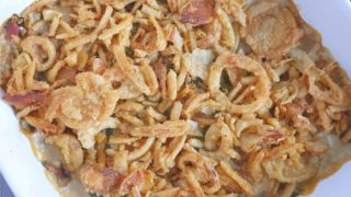 Green Bean Bacon Casserole with Caramelized Onions
