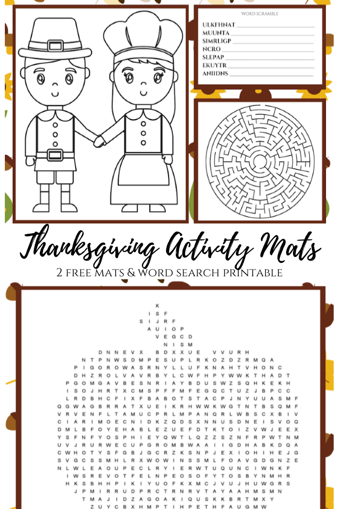 FREE printable Thanksgiving Activity Mats