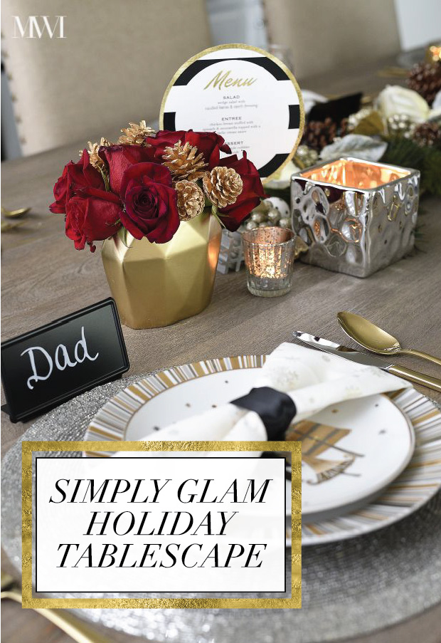 Black, White, Gold & Red Holiday Tablescape