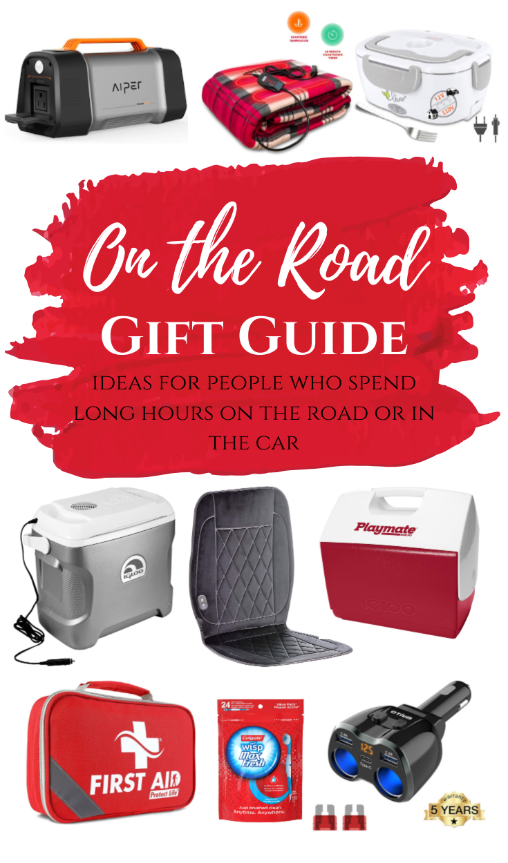 On the Road Gift Guide - Ideas for people who spend long hours on the road or in the car. #travel #travelitems #giftguide #cartravel