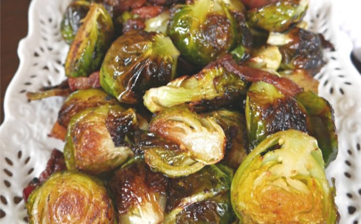 Roasted Brussels Sprouts with Bacon and Balsamic Vinegar