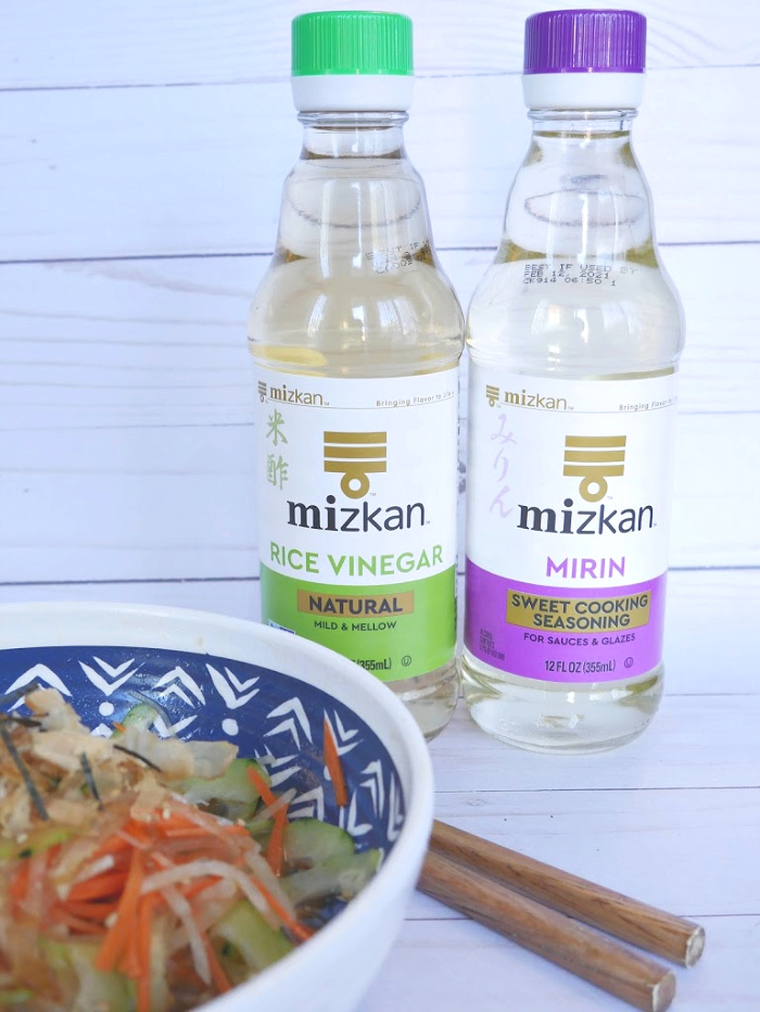 Mizkan rice vinegar and mrin bottles in background