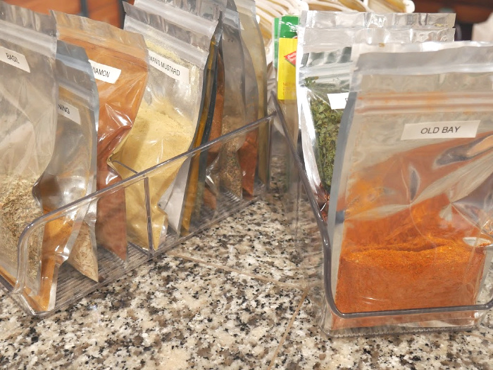 Spice bags in plastic container