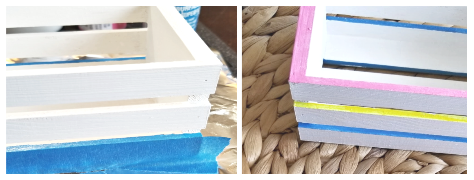 Add colored paint between wood slates on crate