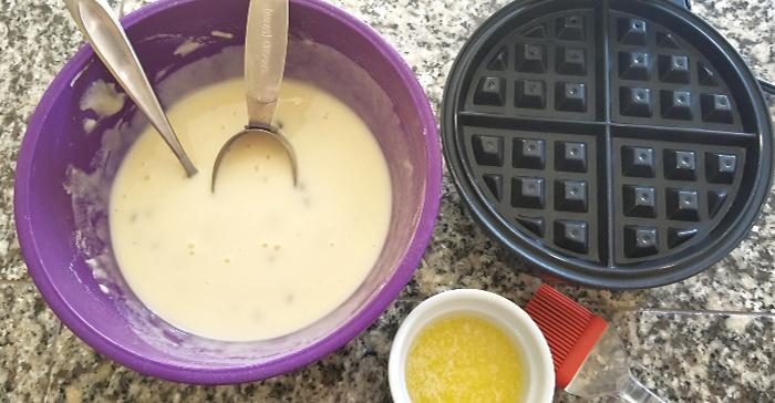 Chocolate Chip mochi waffles batter