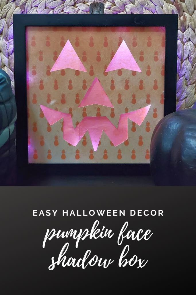 Lighted Pumpkin Face Shadow Box