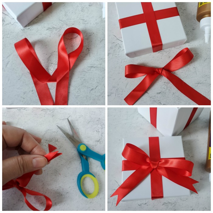Make a bow with red satin ribbon